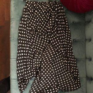 Black midi skirt with white polka dots